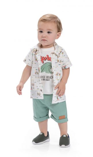 Conjunto Bebê Camisa, Camiseta e Bermuda - Verde-lima - G
