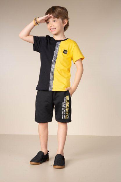 Conjunto Infantil Menino Camiseta e Bermuda - Amarelo - 12