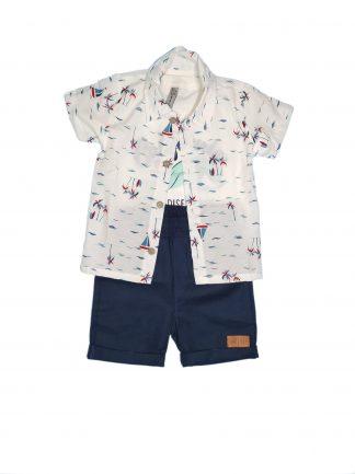 Conjunto 3 peças camisa em tricoline, camiseta em malha confort e bermuda em eco linen-off/ marfim /marinho - MFMR - 3