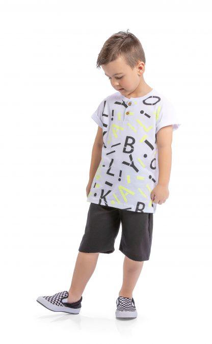 Conjunto Infantil Camiseta e Bermuda - Branco - 10