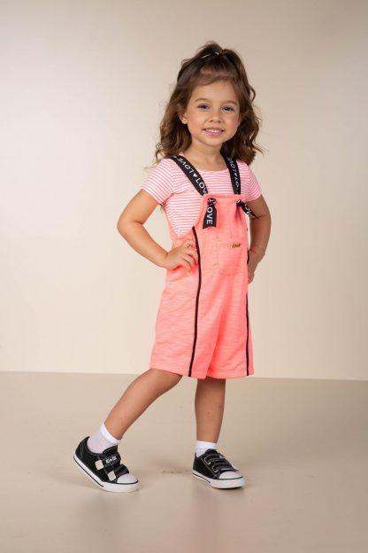 Jardineira e Blusa Infantil Menina - Rosa - 3