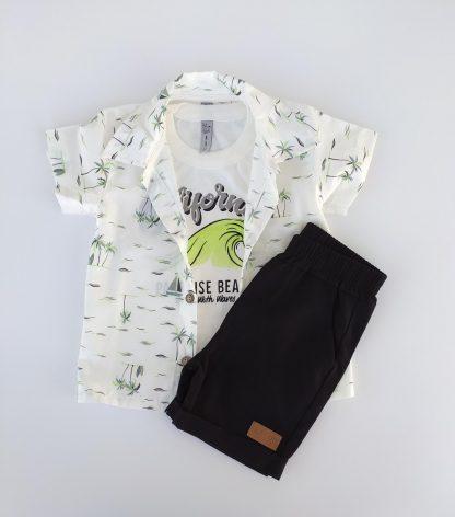 Conjunto Bebê Camisa, Camiseta e Bermuda - Preto - G