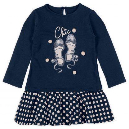 Vestido Manga Longa Moletom Poa Menina - Azul-marinho - 8