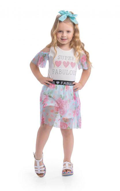 Conjunto Blusa e Saia Floral Tule - Marfim/Pink - AZ - 10