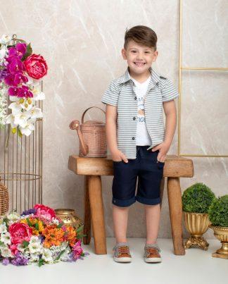 Conjunto Infantil Camisa, Camiseta e Bermuda - Azul - 3