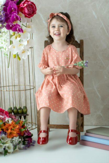 Vestido Poa Paula Tamara Menina - Rosa - 8