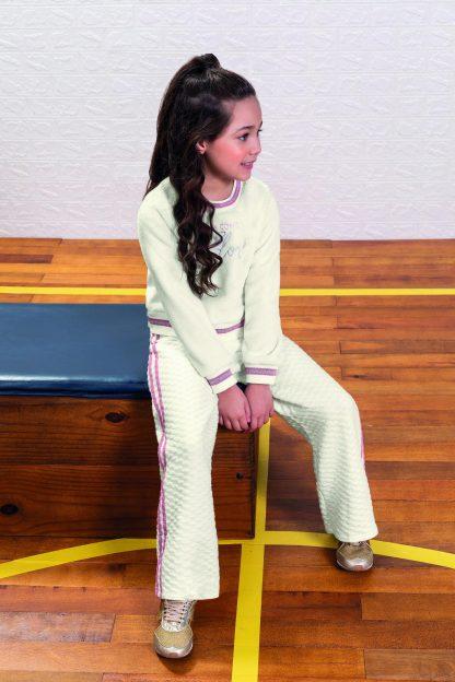 Conjunto Blusão Pelúcia e Calça Pantalona Menina - Branco - 12