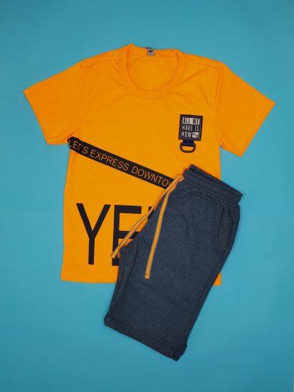 Conjunto camiseta em malha neon e bermuda em moletinho taylor - verde neon/chumbo - LRMR - 10