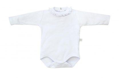 Body Longo Babado na Gola Menina Bebê - Branco - 1