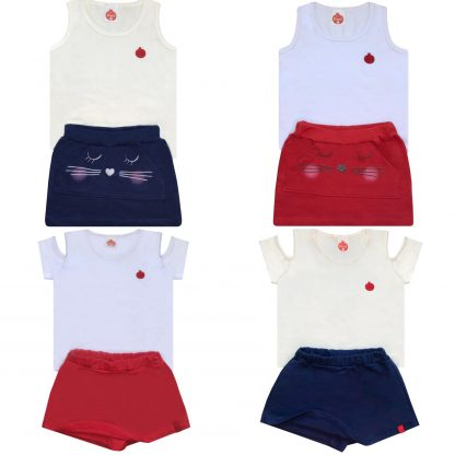 Kit 3 Conjuntos Infantil Menina