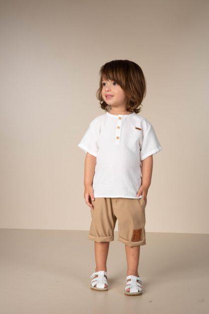 Conjunto Infantil Camiseta e Bermuda Estiloso - Branco - 3