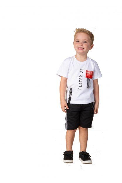 Conjunto Infantil Camiseta Player e Bermuda em Moletom - Preto - 3