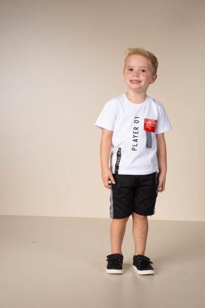 Conjunto Infantil Camiseta Player e Bermuda em Moletom