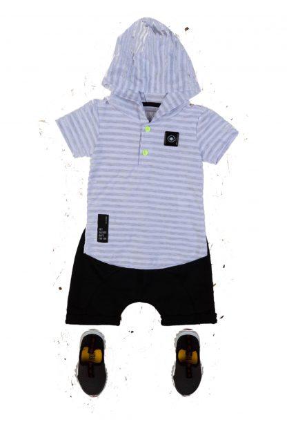 Conjunto Bebê Camiseta com Capuz e Bermuda - Cinza - GG