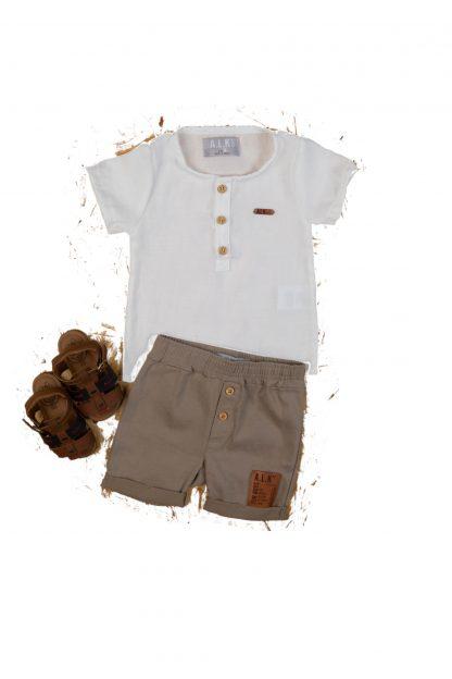 Conjunto Bebê Camiseta e Bermuda Estiloso - Branco - GG