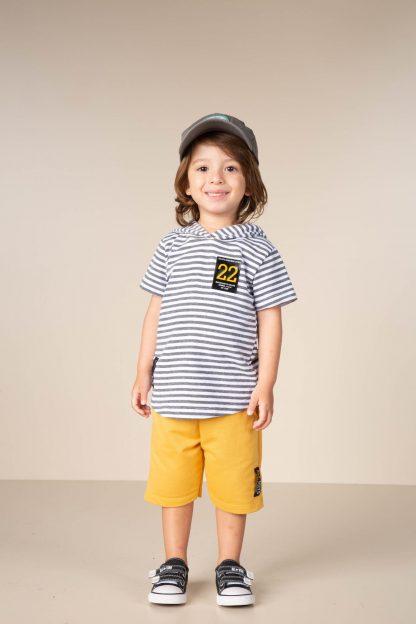 Conjunto Infantil Camiseta com Capuz e Bermuda - Amarelo - 3