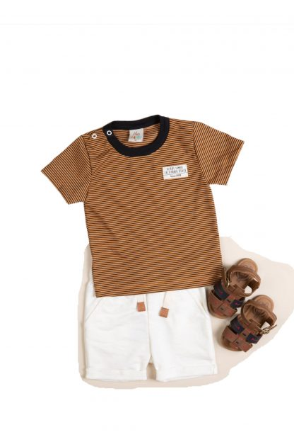 Conjunto Bebê Camiseta e Bermuda - Marrom - GG