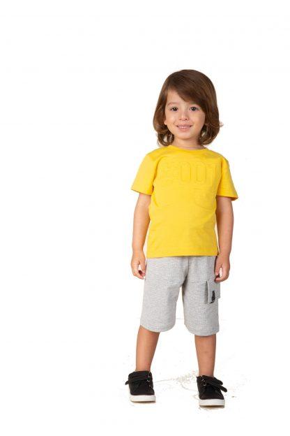 Conjunto Infantil Menino, Camiseta e Bermuda - Amarelo - 3