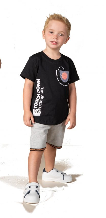 Conjunto Menino Camiseta e Bermuda - Preto - 3
