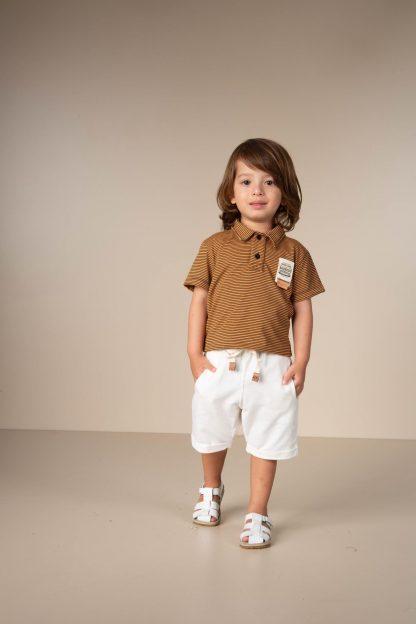 Conjunto Infantil Camisa Polo e Bermuda - Marrom - 3