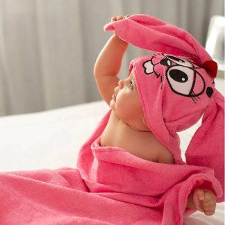 Toalha de Banho com Capuz Turma da Mônica Menina - ROSA - U