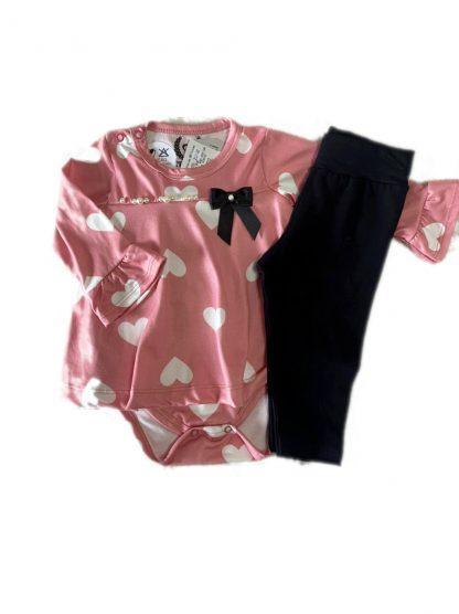 Conjunto Bebê Body Bata e Calça Legging - Rosa - GG